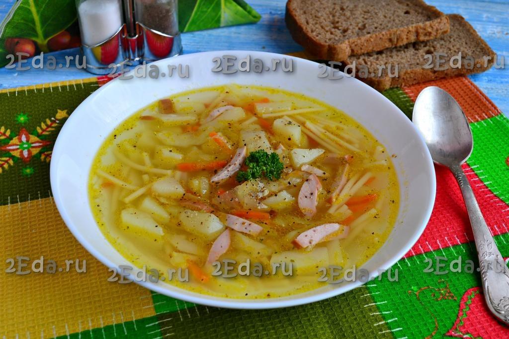 куриный суп с колбасой