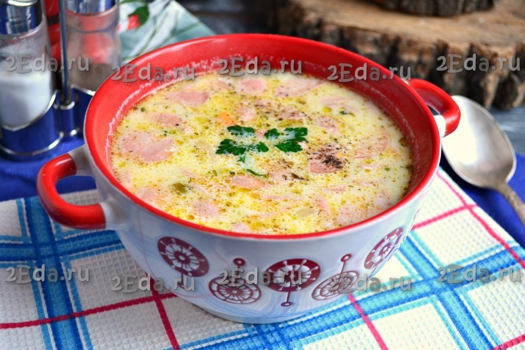 Рецепт супа с плавленным сыром и сосисками