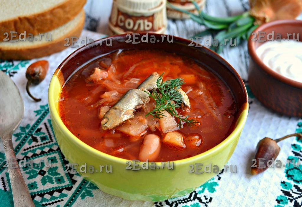 как приготовить холодный борщ с килькой в томате